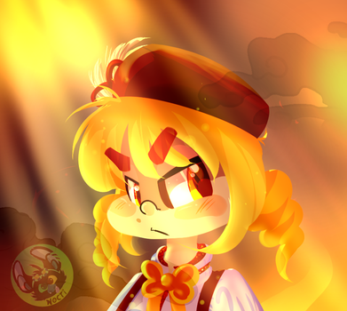 i'm just playing with gold tones and puella magis by Blackscaledtail