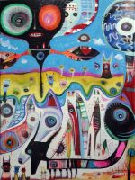 Outsider Art: Martian Double Dogs by bugatha1