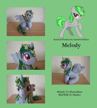 Knitted Plushies - Melody (OC) by haselwoelfchen