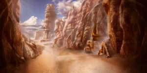 Matte Painting: Mountain trail by KawaINDEX