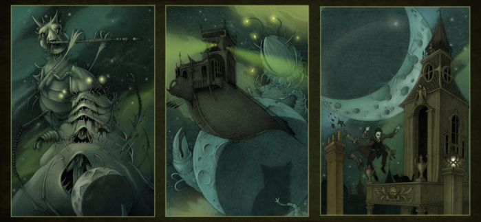 Dream Quest of Unknown Kadath triptych by CopperAge