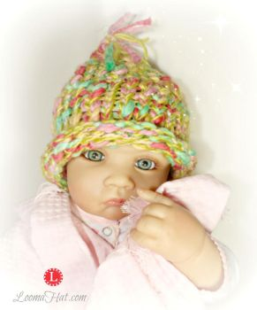 Loom Knit Pixie Hat - Life Like Doll Pattern Model by LoomaHat
