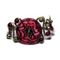 Steampunk Jewelry Red bracelet by CatherinetteRings