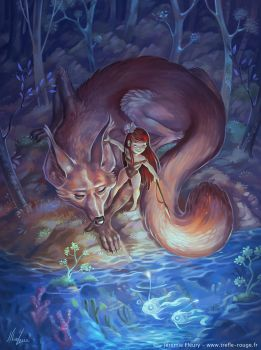 The Girl, the Fox, and the Ghost Fish by Trefle-Rouge