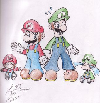 Mario, Luigi, and the babies by BlackBirdo