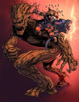 Groot And Rocket Color by logicfun