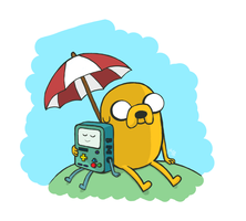 Jake and Beemo Sunny Days by Blue-Staple-Studios