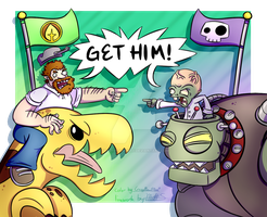 Crazy Dave vs. Dr. Zomboss (Art Collab) by CrazyPlantMae