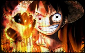 In honor of Fire Fist Ace, Luffy with a fire fist. by fogdark