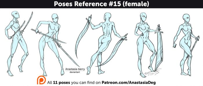 Poses Reference #15 (female) by Anastasia-berry