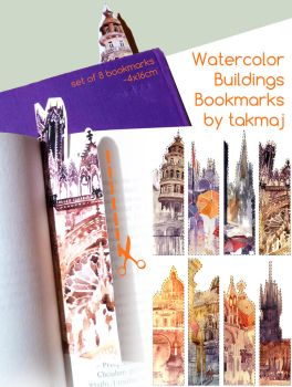 watercolor bookmarks by takmaj