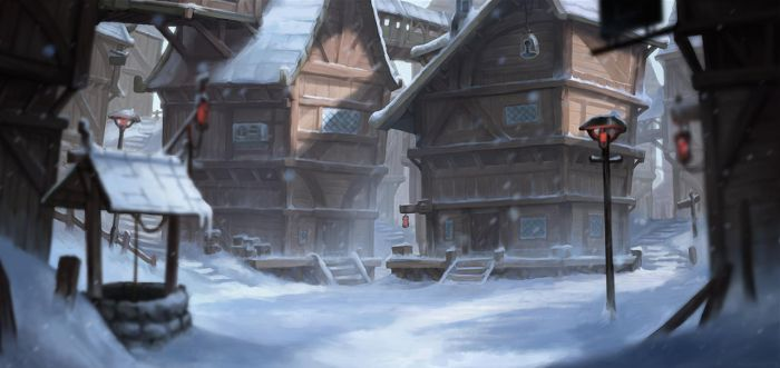 Snowy Village by aquanoctis