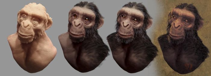Chimpazee sculpted bust then photoshop tweaked by StephaneRoux