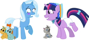 Twilight and Trixie with Diapers and Dolls by Mighty355