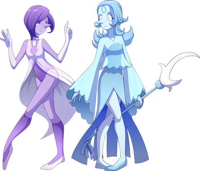 Lilac pearl and Light Blue Pearl by sparks220stars