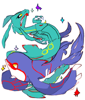 .::Rayquaza + Kyogre::. by Mimi-s-Lugia