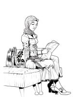 perempuan duduk by padione