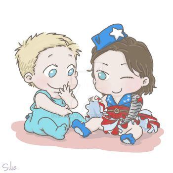 Commission: Baby Steve and Baby Bucky in skirt by SilasSamle