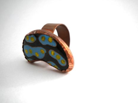 Sea Slug Cloisonne ring by JeweledScarab