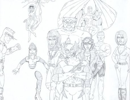 X-Men Lineup by ROSchwoe