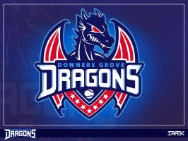 Downer Groves Dragons (Sports Dragon Logo) by Draekdesign