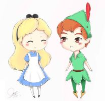 Alice and Peter Pan by neruteru