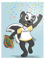 Sam throwing confetti by pandapaco