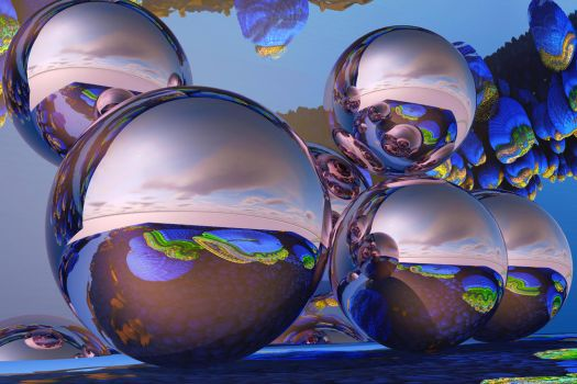 Reflective spheres in a fractal environment 2 by PatrickKarlsson