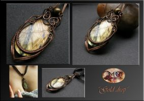 Gold drop- wire wrap pendant by mea00