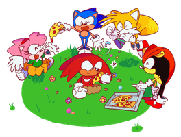 [CM] Knuckles's Pizza Party for Rontufox by bulgariansumo