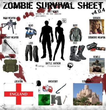 Zombie survival sheet by bincola