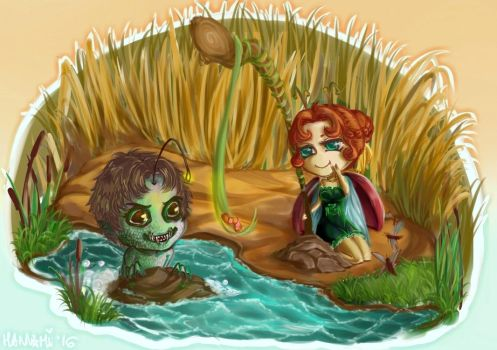 A little cute Bug-girl and her Fish-boy by Hannami94
