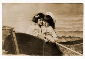 vintage - children in a boat by Meltys-stock
