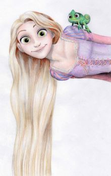 Rapunzel and Pascal by PapouJunkie