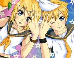 Rin and Len by oEvangeline