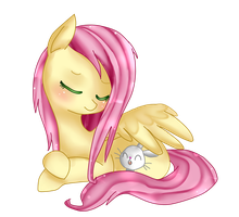 Fluttershy and angel in the invisible rain (? by Haruliina