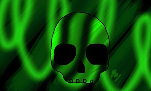 green skull by witchesdivinebrew