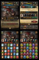 Fantasy Trading card and puzzle game UI by nonamex7
