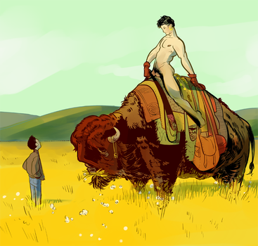 naked man on a bison by PollyGuo
