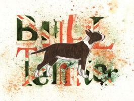 Brindle Bull Terrier by saraquarelle
