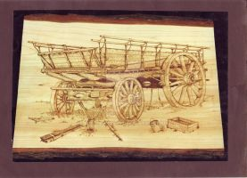 Pyrographic old wagon by WOODEWYTCH
