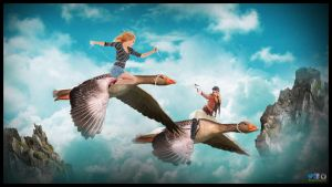 Flying with Geese Photoshop Manipulation Tutorial by PhotoshopNJ