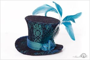 Turquoise Dream Blue and Black Lace Mini Top Hat by Elorhan