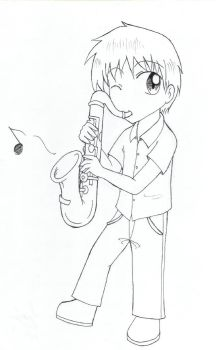 Commission: Saxphone boy by ReonaDawn