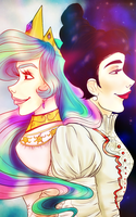 The Queen of the Sun and the Tsarina of the Moon by EvieSketchy