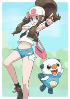 Pokemon trainer Hilda with Oshawott. by Gameguran