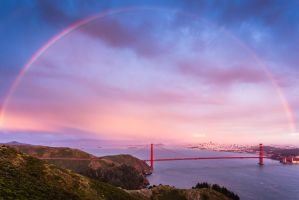 Rainbow - Golden Gate Bridge by xelement