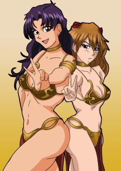 Commission - Asuka/Misato in Leia slave Full color by HauntedDoge