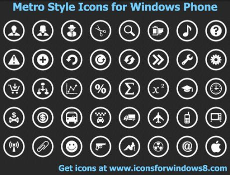 Metro Style Icons for Windows Phone by Iconoman