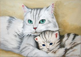 Mommy and kitty by NettoSanne